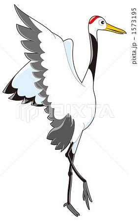 鶴 丹頂鶴 かわいい 白色のイラスト素材 Pixta