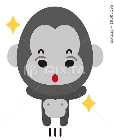 動物 ゴリラ かわいい 笑顔のイラスト素材 Pixta