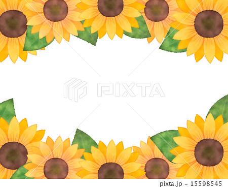 水彩風向日葵(ひまわり)コピースペース(フレーム・枠)イラスト素材
