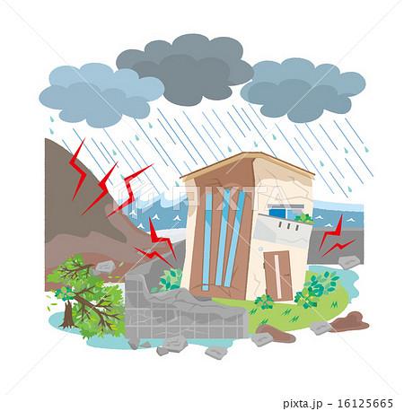 大雨のイラスト素材 Pixta