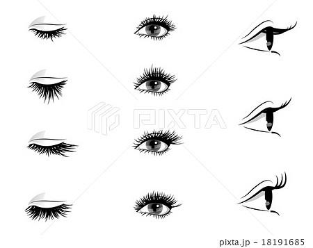 まつ毛カール 瞳 綺麗のイラスト素材 Pixta