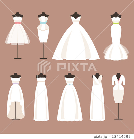 Styles of wedding dresses. Vector Illustration