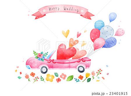 結婚 ウェディングカー ウエディングカー カードのイラスト素材 Pixta