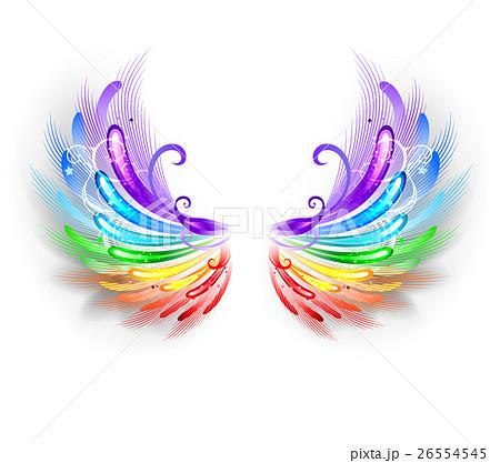レインボー 虹 羽 白背景のイラスト素材 Pixta