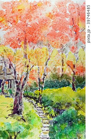水彩画 里山 秋 風景画のイラスト素材 Pixta