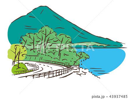 開聞岳 風景 ベクター 霧島屋久国立公園のイラスト素材 Pixta