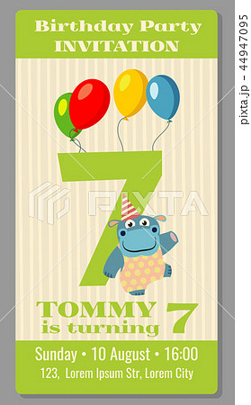 kids birthday party invitation card vector illustrationのイラスト