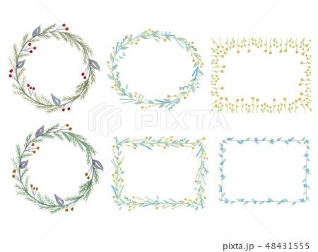 フレーム 花 植物 リースのイラスト素材 Pixta