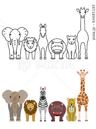 キリン 動物 かわいい 全身のイラスト素材